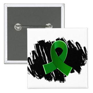 Cinta verde de la donación de órganos con garabato pin cuadrado