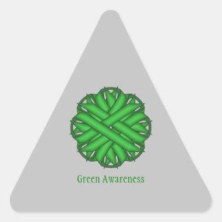 Cinta verde de la flor pegatina triangular