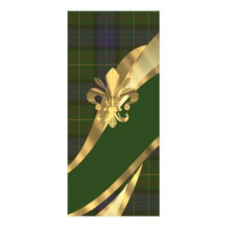 Cinta verde del tartán y del oro diseño de tarjeta publicitaria