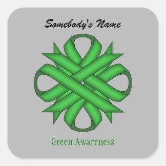 Cinta verde del trébol pegatina cuadrada