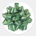 Cinta verde grande del arco del regalo de Navidad Pegatina Redonda