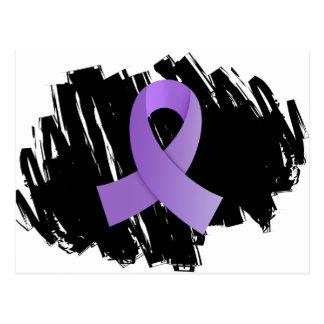 Cinta violeta del linfoma de Hodgkin con garabato Tarjeta Postal