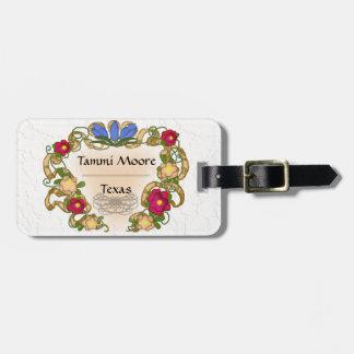 cinta y flor coloniales del estilo etiquetas bolsa