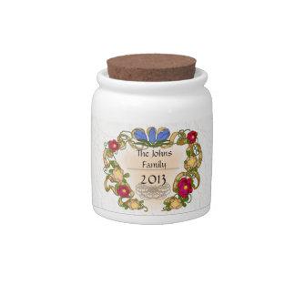cinta y flor coloniales del estilo jarra para caramelo