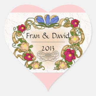 cinta y flor coloniales del estilo pegatina en forma de corazón