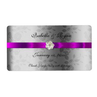 Cinta y flor púrpuras de la etiqueta del agua del etiquetas de envío