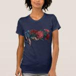 Cinta y flores patrióticas del vintage camisetas