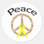 Cinta y palabra de la paz de Camo del desierto Pegatina Redonda