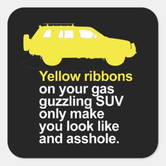 Cintas amarillas en su suv guzzling del gas - pegatina cuadrada