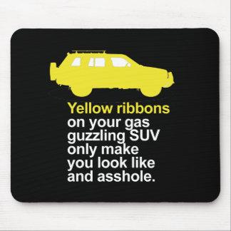 Cintas amarillas en su suv guzzling del gas - alfombrilla de ratón