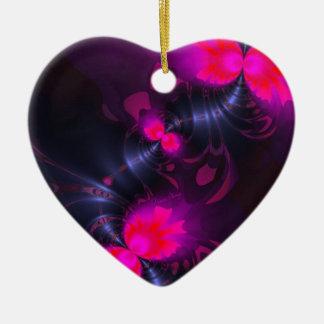Cintas color de rosa y magentas de la hada de la adorno de cerámica en forma de corazón