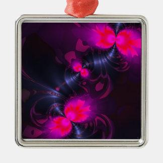 Cintas color de rosa y magentas de la hada de la adorno cuadrado plateado