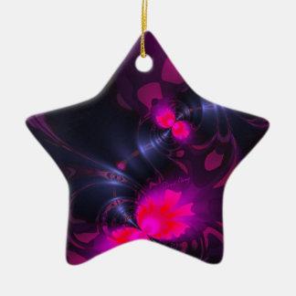 Cintas color de rosa y magentas de la hada de la adorno de cerámica en forma de estrella
