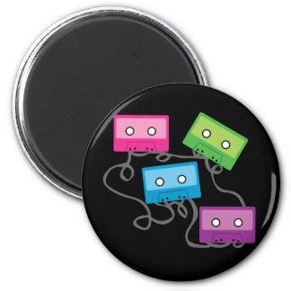Cintas de casete coloridas imán redondo 5 cm