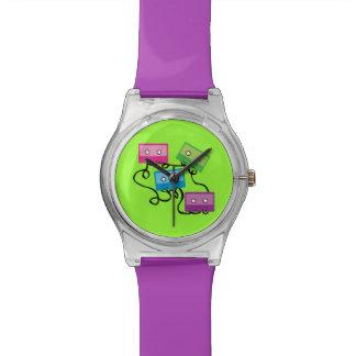Cintas de casete coloridas relojes de pulsera