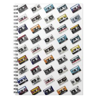 Cintas de casete retras de música cuaderno