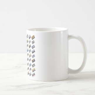 Cintas de casete retras de música taza de café