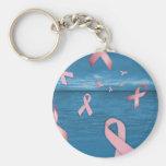 Cintas de la conciencia del cáncer de pecho en el  llavero personalizado