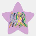 Cintas de la conciencia del cáncer colcomanias forma de estrellaes personalizadas