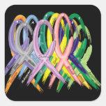 Cintas de la conciencia del cáncer colcomanias cuadradas personalizadas