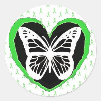 Cintas de la mariposa y de la conciencia de la pegatina redonda