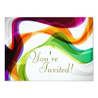 Cintas del arco iris que casan la invitación - invitación 11,4 x 15,8 cm