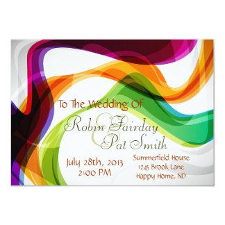 Cintas del arco iris que casan la invitación -