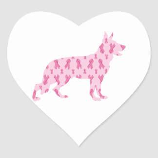 Cintas del cáncer del rosa del pastor alemán pegatina en forma de corazón