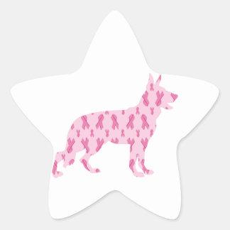 Cintas del cáncer del rosa del pastor alemán pegatina en forma de estrella