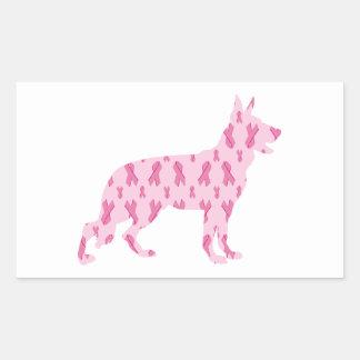 Cintas del cáncer del rosa del pastor alemán pegatina rectangular