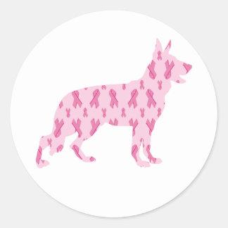 Cintas del cáncer del rosa del pastor alemán pegatina redonda