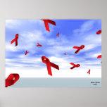 Cintas del SIDA que flotan en el poster del cielo