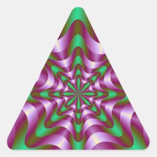 Cintas en pegatina púrpura y verde del triángulo
