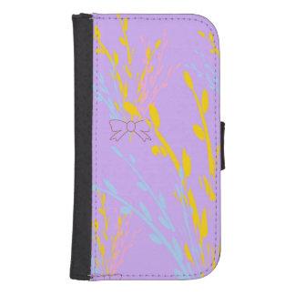 Cintas florales de la conciencia en púrpura de la funda billetera para teléfono