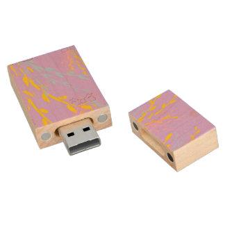 Cintas florales de la conciencia en púrpura de la memoria USB 2.0 de madera