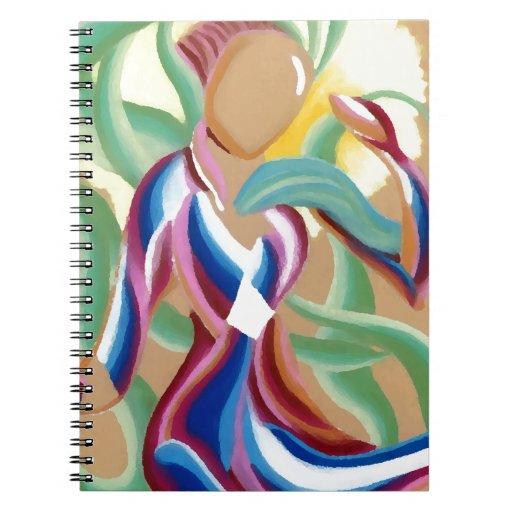Cintas que fluyen abstractas de la criatura ligera libreta espiral