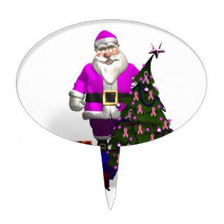 Cintas rosadas de Papá Noel Figuras Para Tartas