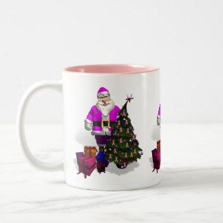 Cintas rosadas de Papá Noel Taza De Dos Tonos