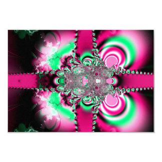 """Cintas rosadas y fractal del arco invitación 3.5"""" x 5"""""""