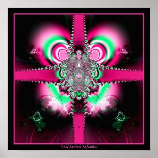 Cintas rosadas y fractal del arco poster