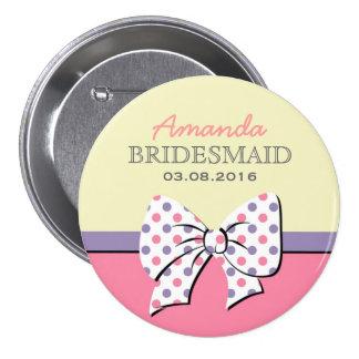 Cintas y arcos rosados BridesmaidButton de los lun Pin Redondo De 3 Pulgadas