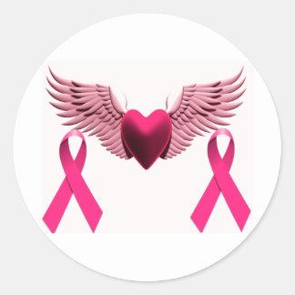 Cintas y corazón rosados del amor y de la ayuda pegatina redonda