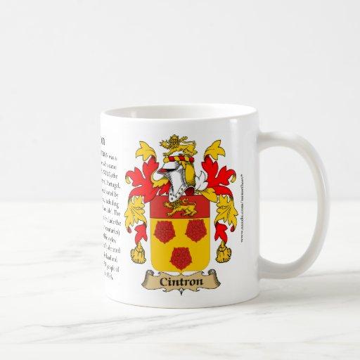 Cintron, el origen, el significado y el escudo taza de café