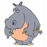 cintura de medición del hipopótamo divertido de la escultura fotografica