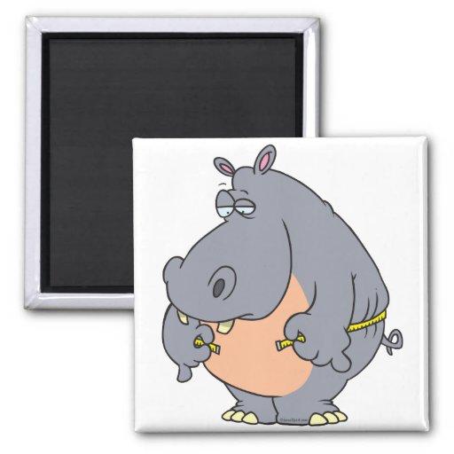 cintura de medición del hipopótamo divertido de la imán de frigorífico