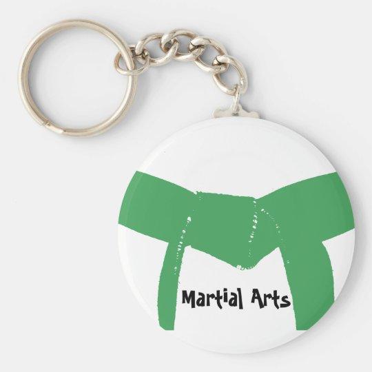 Cinturón verde de los artes marciales llavero redondo tipo pin