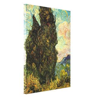 Cipreses de Van Gogh, bella arte del impresionismo Lona Envuelta Para Galerías