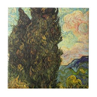 Cipreses de Van Gogh, bella arte del paisaje del Azulejo Cuadrado Pequeño