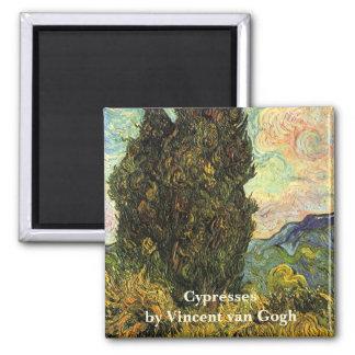 Cipreses de Van Gogh, bella arte del paisaje del Imán Cuadrado