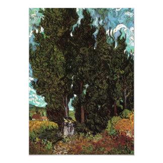 Cipreses de Van Gogh con dos figuras femeninas Invitación 12,7 X 17,8 Cm